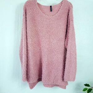 Massini Pink Blush Fuzzy Sweater 2X